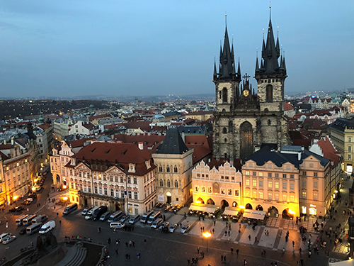 プラハの時計台からの景色
