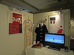 映像作品、撮影に使用した衣装、テーマを解説したパネルの展示